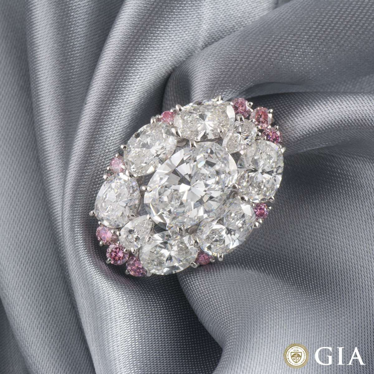 White and Pink Diamond Platinum Brooch